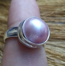 925 Solid Silver-Bali Modern Style Pink Mabe Pearl Color Size 8-H93