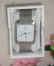 Obaku Men's Harmony V145UCIMC Silver-Tone Steel Mesh White Dial Watch NEW