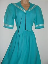 Laura Ashley Vintage Edwardian Sailor Style Dress - Made in Carno Wales - 12 UK