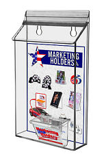 """Clear Acrylic Outdoor Wall Mount Bi-Fold with Business Card Holder holds 6"""" Wide"""