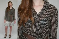Vintage 80s Sheer Brown White Stripe FLORAL Dot Ruffle BOHO Secretary Dress~M