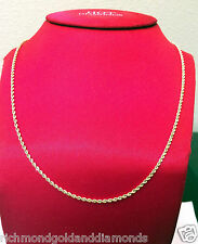 Mens Womens 14k Yellow Gold Necklace Hallow Rope Chain 2mm 18 inch NEW