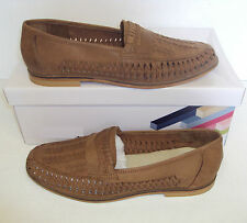 Men's Bow Weave Slip On Tan 100% Real Leather Boat Shoes Loafers New Size 9
