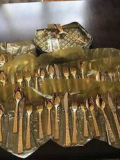 Cellini Romanesque Gold Plated 8 Place Setting ROSE 51 pcs w/ Case Flatware
