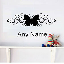 Butterfly Personalized Wall Decal Custom Any Name Art Sticker For Kids Bedroom