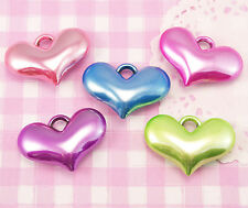 5 x X-LARGE Pearlised Heart Shaped 3D Kawaii Colourful Beads Jewellery Making