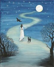 5x7 PRINT OF PAINTING RYTA BLACK CAT RAVEN CROW WICCA GOTHIC HALLOWEEN ART MAGIC