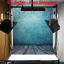 3x5FT Blue Wall Wooden Floor Studio Props Photography Backdrop  Background