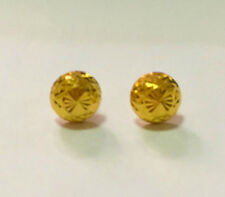 EXCELLENT 22K  SOLID GOLD BIG HALF BALL 7 MM. STUD  EARRINGS