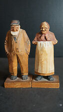 Early Carl Trygg Wood Carving Old Man and Woman Signed