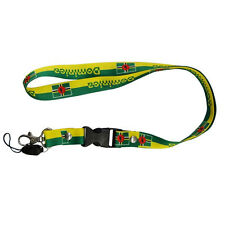 DOMINICA YELLOW GREEN COUNTRY FLAG LANYARD KEYCHAIN PASSHOLDER ..  NEW