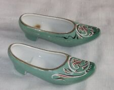Vintage Pair of Porcelain China Green Asian Shoe Figurines