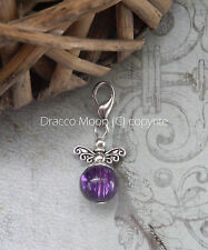 Purple Clip on Glass Crackle Bead Fairy/Angel Bracelet Charm Only Fashion UK