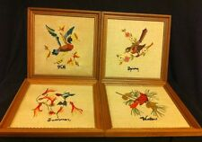 FOUR VINTAGEFOUR SEASONS  BIRDS  EMBROIDERED PICTURES, FABULOUS WORK!
