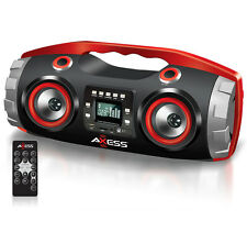 Axess Portable Bluetooth Boombox Cylinder Speaker Radio CD/MP3/USB/SD/Aux Inputs