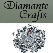 150 x 10mm Clear Diamante Loose Stars Flat Back Rhinestone Craft Embellishments