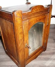 Antique authentic solid wooden wall medicine bathroom cabinet beveled mirror