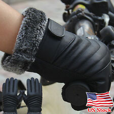 Fashion Anti Slip Mens Thermal Winter Sports Leather Touch Screen Gloves Mittens