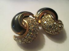 Vintage Christian Dior Black Enamel Pave Rhinestone Clip Earrings Signed