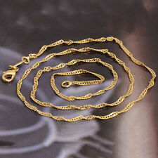"19""Simple Fashion Yellow Gold Filled Womens Water Wave Chain Necklace"