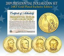 2009 USA MINT GOLD PRESIDENTIAL $1 DOLLAR 4 COINS SET Certified Gift Box