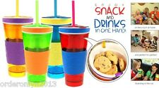 Snack and Drink Container Lid Travel Cup with Straw (Red/Blue)