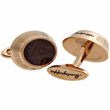 Montegrappa Miya Rose Gold Brown Enamel Cufflinks IDMYCLMR    MADE IN ITALY