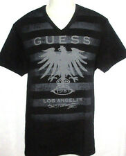 MENS GUESS V-NECK BLACK T-SHIRT SIZE L