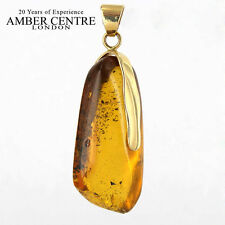 Unique and Rare Mexican/Dominican Amber Pendant in 14ct Gold -RRP£440 GPM019