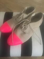 H&M Suede Cream Brogues, Size 5. Flat Shoes, Patent