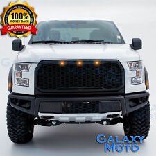 15-17 Ford F150 Raptor Matte Black Front Hood Replacement Mesh Grille+Shell+LED