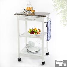 Küchentrolley aus Holz mit Granitplatte Servierwagen Küchenwagen Küchenschrank