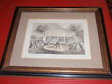 ANTIQUE/VINTAGE FRAMED PRINT SUMO WRESTLERS AT YOKUHAMA 16 1/2 X 13 1/4 INCHES