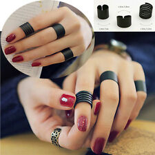 3PCS Matte Adjustable Stack Plain Above Knuckle Finger Tip Band Midi Ring Black