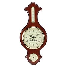 Wm Widdop Ships traditional Banjo Barometer Thermometer Clock 64cm HT W9011