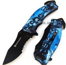 "8"" Blue Metal Handle Zombie Killer Spring Assisted Folding Knife  ZK010270BL"