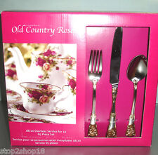 Royal Albert Old Country Roses OCR 65 Piece Stainless Service/12 Gold Accent NEW