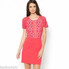 designer MADEMOISELLE R Coral RED boho hippy guilpare lace dress UK 14 EU 42 NEW