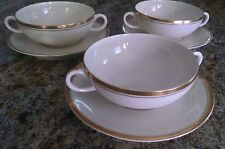 3 SYRACUSE CHINA OLD IVORY  MONTICELLO CREAM SOUP BOUILLON CUPS w/UNDERPLATES
