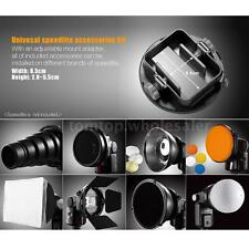 9in1 Flash Speedlite Kit Reflector Softbox Honeycomb Snoot Diffuser Filter W2J7