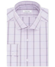 $179 CALVIN KLEIN Men SLIM-FIT PURPLE CHECK NON-IRON BUTTON DRESS SHIRT 15 32/33