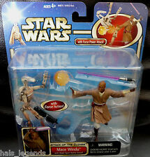 Star Wars Attack of the Clones MACE WINDU w/Blast Apart BATTLE DROID New! Rare!
