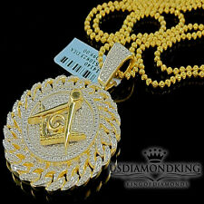 Mens Real Diamond Masonic Pendant 10K Yellow Gold Finish Round Miami Cuban Charm