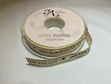Hand Made With Love Fabric Ribbon Full 20 mtr Reel Gift Packaging Cake Decoratin