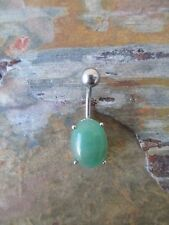 Healing Chakra Green Aventurine Natural Stone Piercing Jewelry Belly Navel Ring