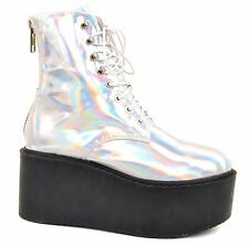 UNIF Women's Gammaray Holographic Platform Boots Silver Size UK 4,5 BCF611
