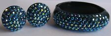 WEISS VINTAGE DAZZLE AB BLUE GLASS CRYSTALS RHINESTONE BRACELET & EARRINGS SET