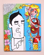 "Original modern Graffiti art Painting on canvas "" Guy meeting "" 50x40cm  ART"