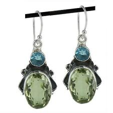 GREEN AMETHYST & BLUE TOPAZ GEMSTONE 925 STERLING SILVER DROP EARRINGS 1 5/8""