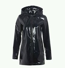 Pvc shiny high gloss shine vinyl patent rain mac coat raincoat